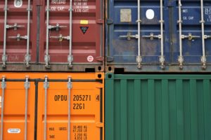 four colorful containers